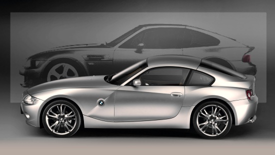 the new Z4 Coupe (foreground) in comparison to our Z3 Targa concept (background)